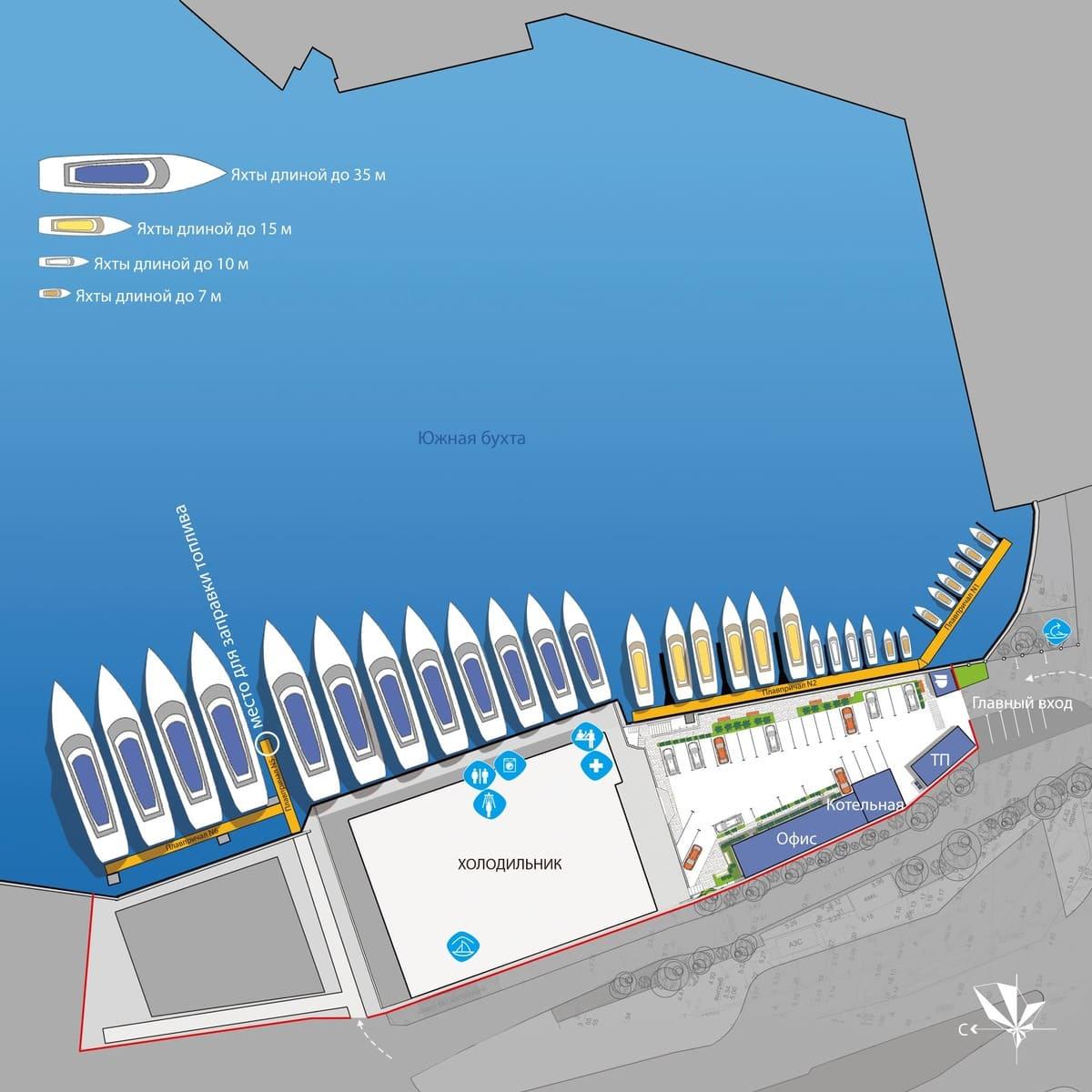 Схема причалов яхтенной стоянки Царская пристань